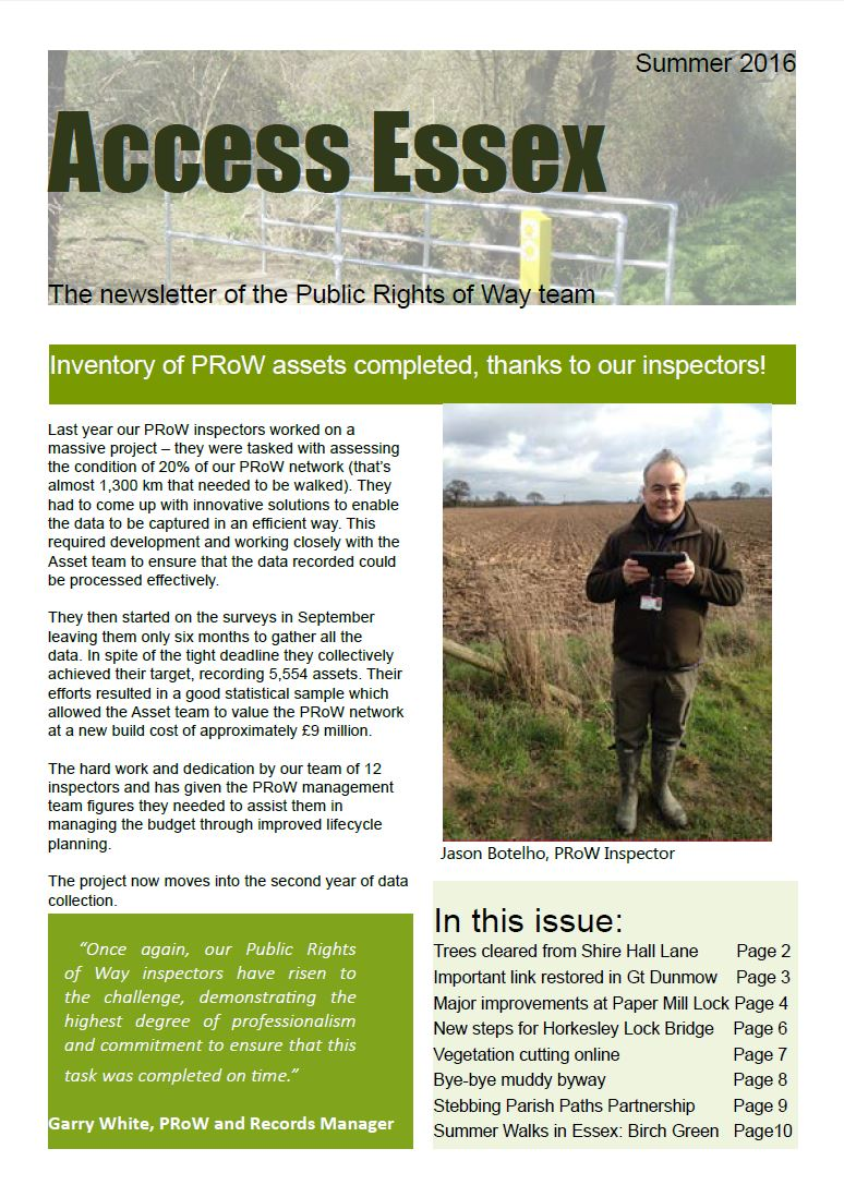 Access Essex PROW Newsletter Summer 2016