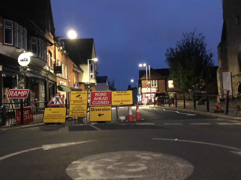 View of overnight road closure - Market Hill, Maldon