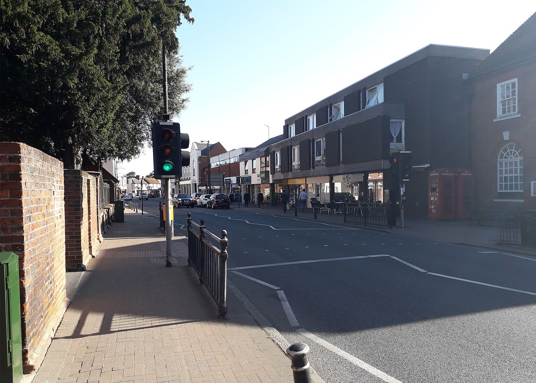 View of High Street with pedestrian crossing in view