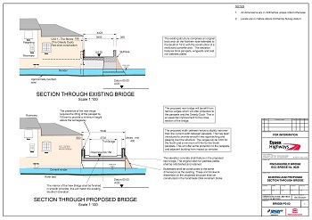 Plans to show cross section of existing and proposed new bridge