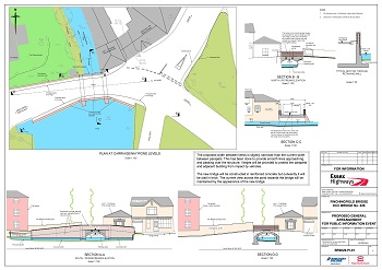 Plan of proposed new bridge including diagrams at carriageway/pond levels