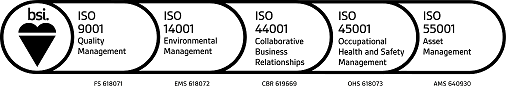 Essex Highways have been awarded British Standard Institute BS 1100 Collaborative Business Relationships, ISO 45001 Occupational Health and Safety Management, ISO 14001 Environmental Management,  ISO 9001 Quality Management and ISO 55001 Asset Management