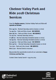 Which operating times and dates for the Chelmer Valley Park and ride