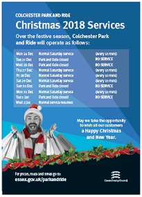 Christmas operating for Christmas at Colchester Park and Ride