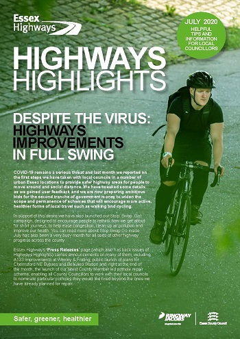 Cover of the July 2020 edition of Highways Highlights - Headline Despite the virus: Highways Improvements in full swing