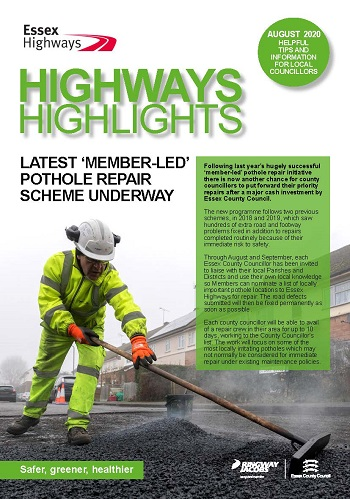 Cover of the  August 2020 edition of Highways Highlights - Headline Latest Member led pothole repair scheme underway