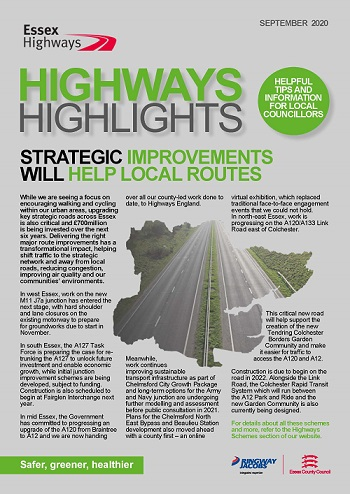 Cover of the September 2020 edition of Highways Highlights - Headline Strategic Improvements will help local routes
