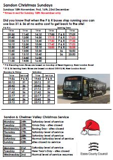 Timetable of Sandon Christmas Sunday Hours and evening services that also go to Sandon