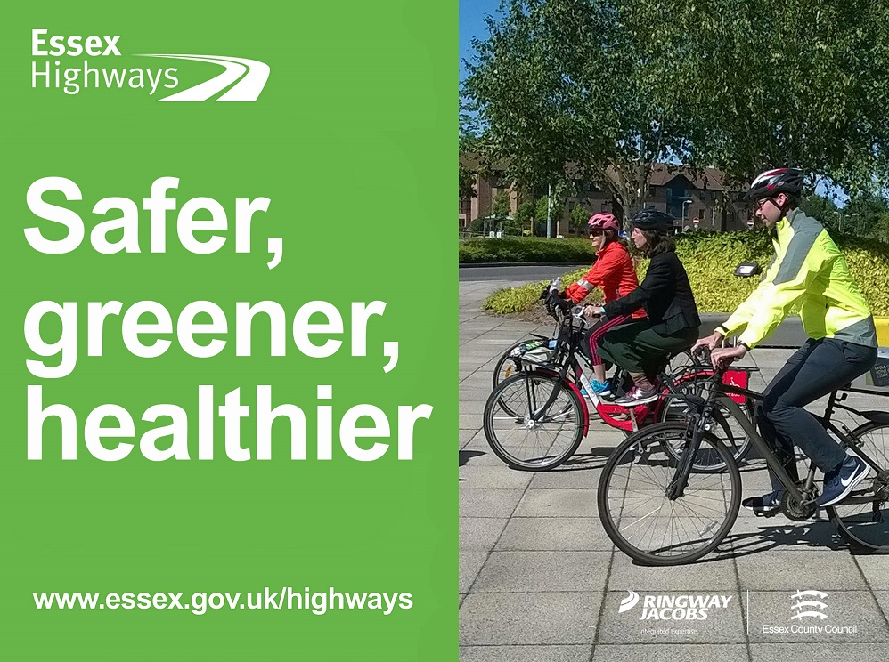 Text on image is Safer, Greener, Healthier and includes the Essex Highways logo and web address