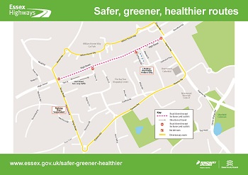 Image of map of closure and diversion for Brentwood Safer, Greener, Healthier measures
