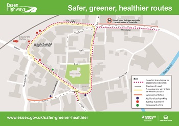 Map showing the route for Chelmsford Safer, Greener, Healthier routes