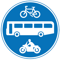 The images on the sign show which vehicles are permitted to use the bus lane or gate