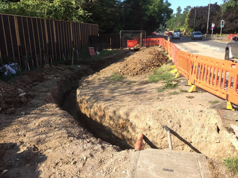 Drainage works being undertaken