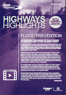Front cover of the January edition of the Hiighway Highlights showing information about flood prevention