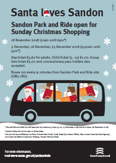 Sunday operating for Christmas at Sandon Park and Ride