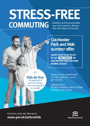 Colchester Park and Ride Poster for Summer 2019