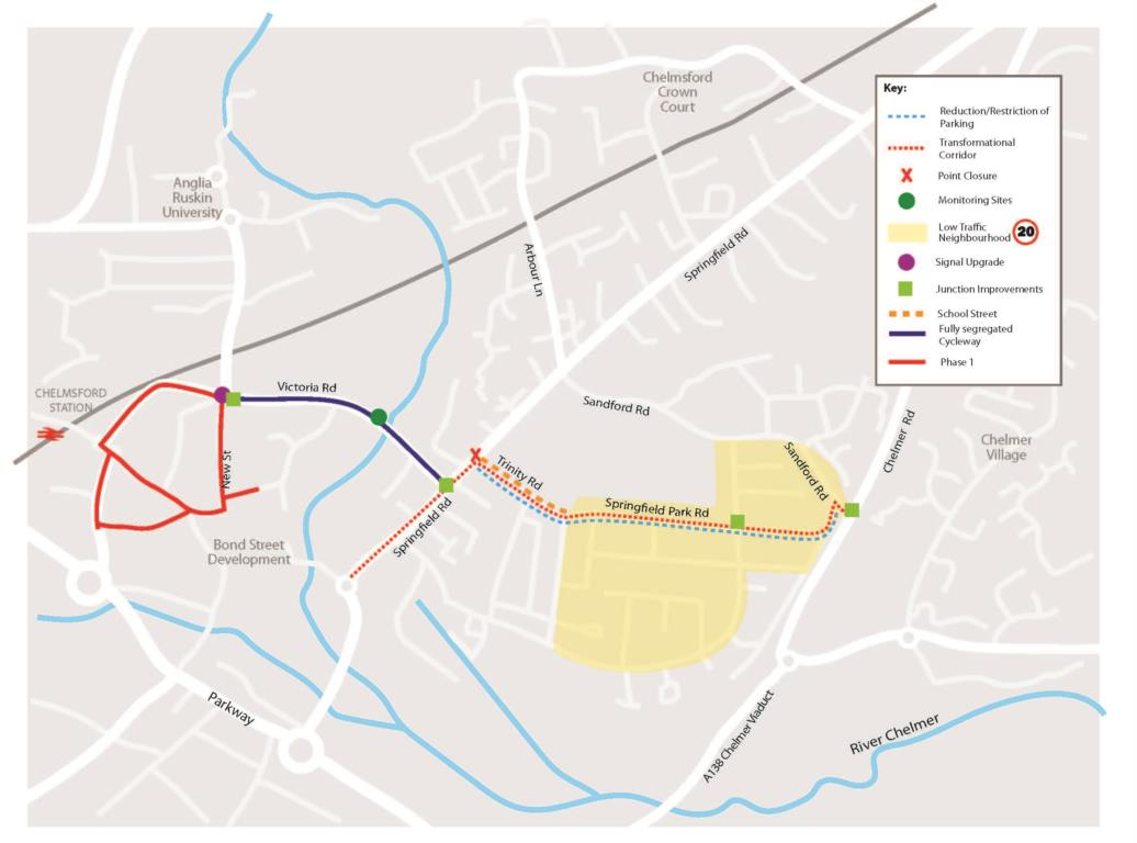 Chelmsford Route 1 map