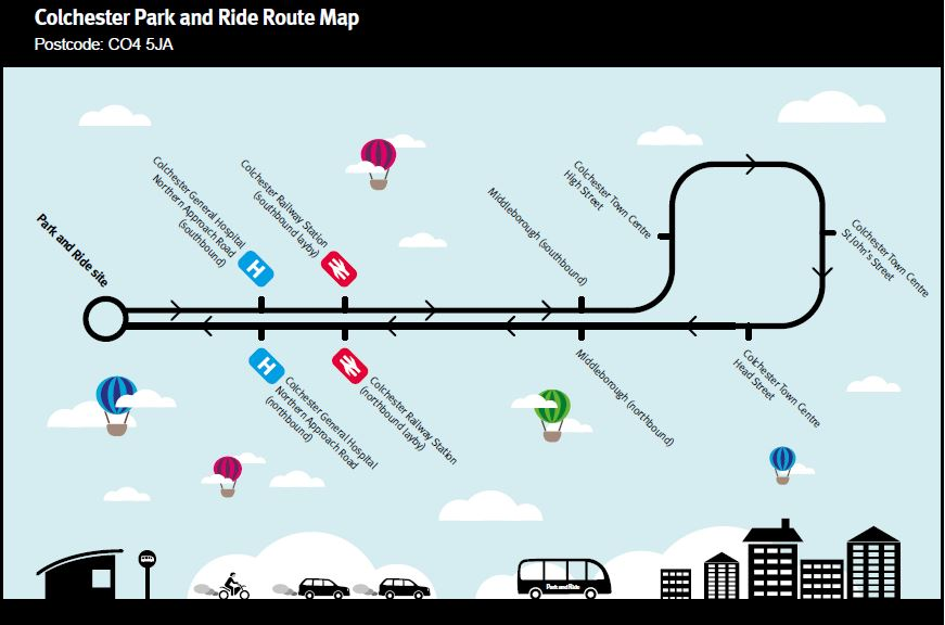 Colchester Park and Ride Map