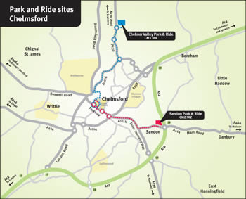 Park and Ride sites in Chelmsford map